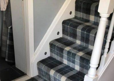 Blue Tartan Stair Carpet Fitted